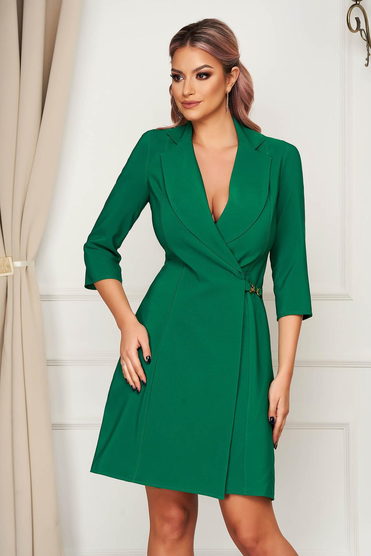 Rochie Artista verde cu croi in a eleganta scurta petrecuta din stofa material subtire Artista
