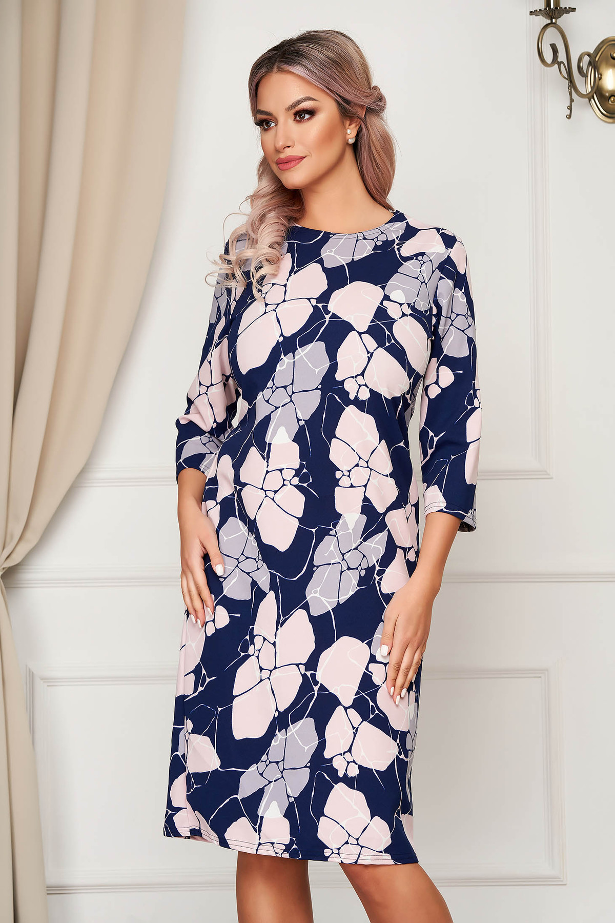 Rochie Lady Pandora Cu Imprimeu Floral Midi De Zi Cu Un Croi Drept Din Material Subtire Si Elastic