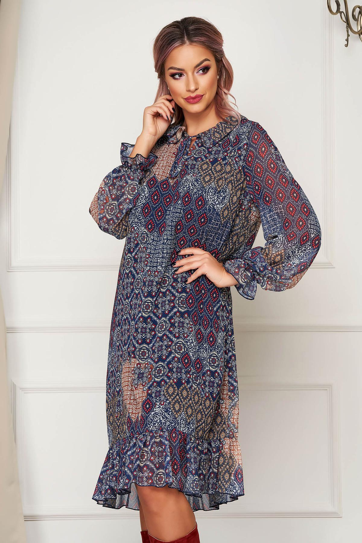Rochie albastru-inchis midi de zi cu croi larg din voal cu maneci lungi