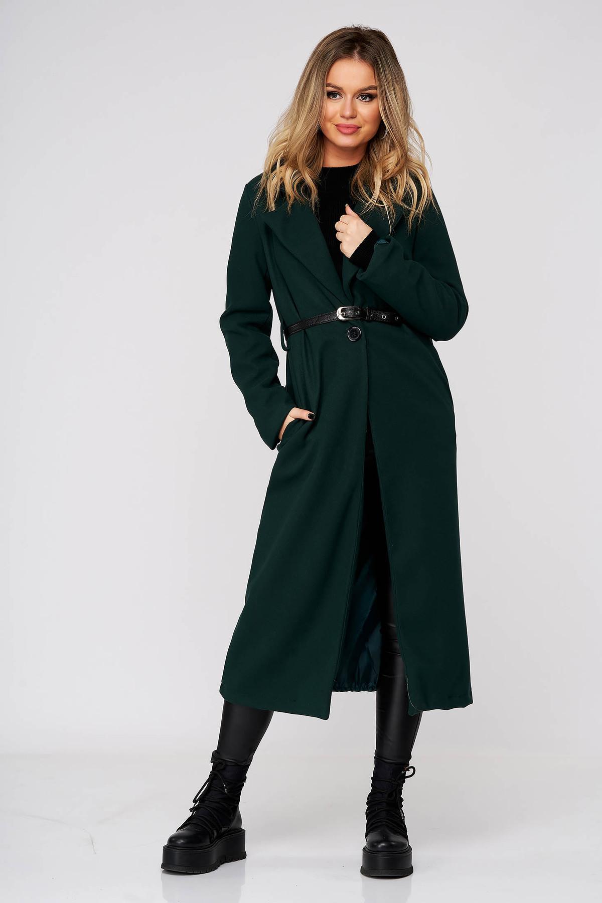 Palton SunShine din stofa verde lung cu un croi drept cu buzunare cu accesoriu tip curea