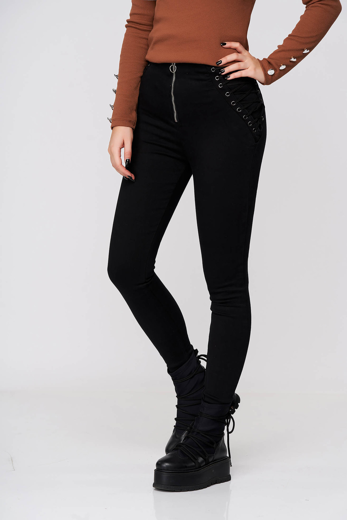 Pantaloni SunShine negri casual skinny din denim cu talie inalta accesorizati cu snur imagine
