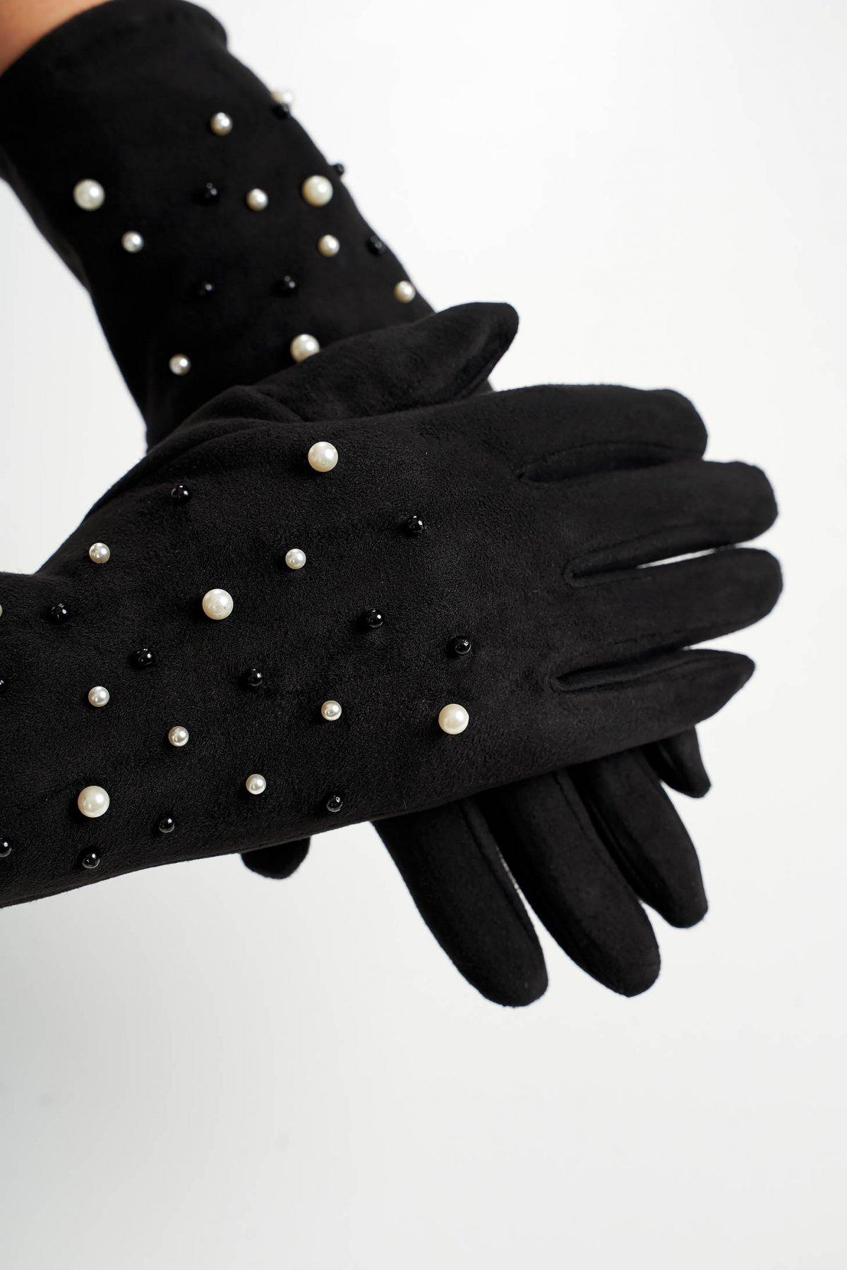 Manusi dama SunShine negre din material catifelat cu aplicatii cu perle imagine