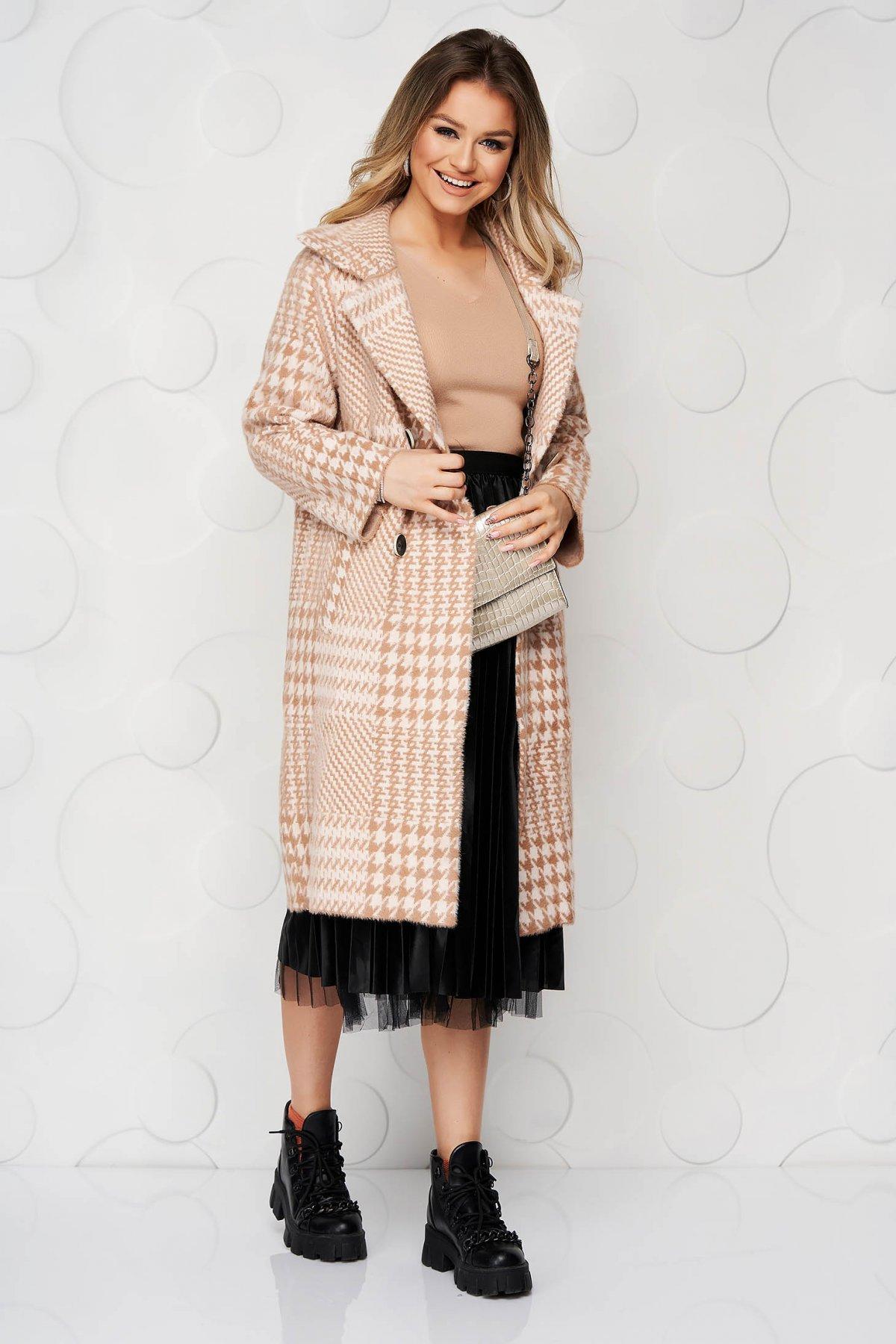 Palton SunShine cappuccino elegant din lana cu croi larg in carouri