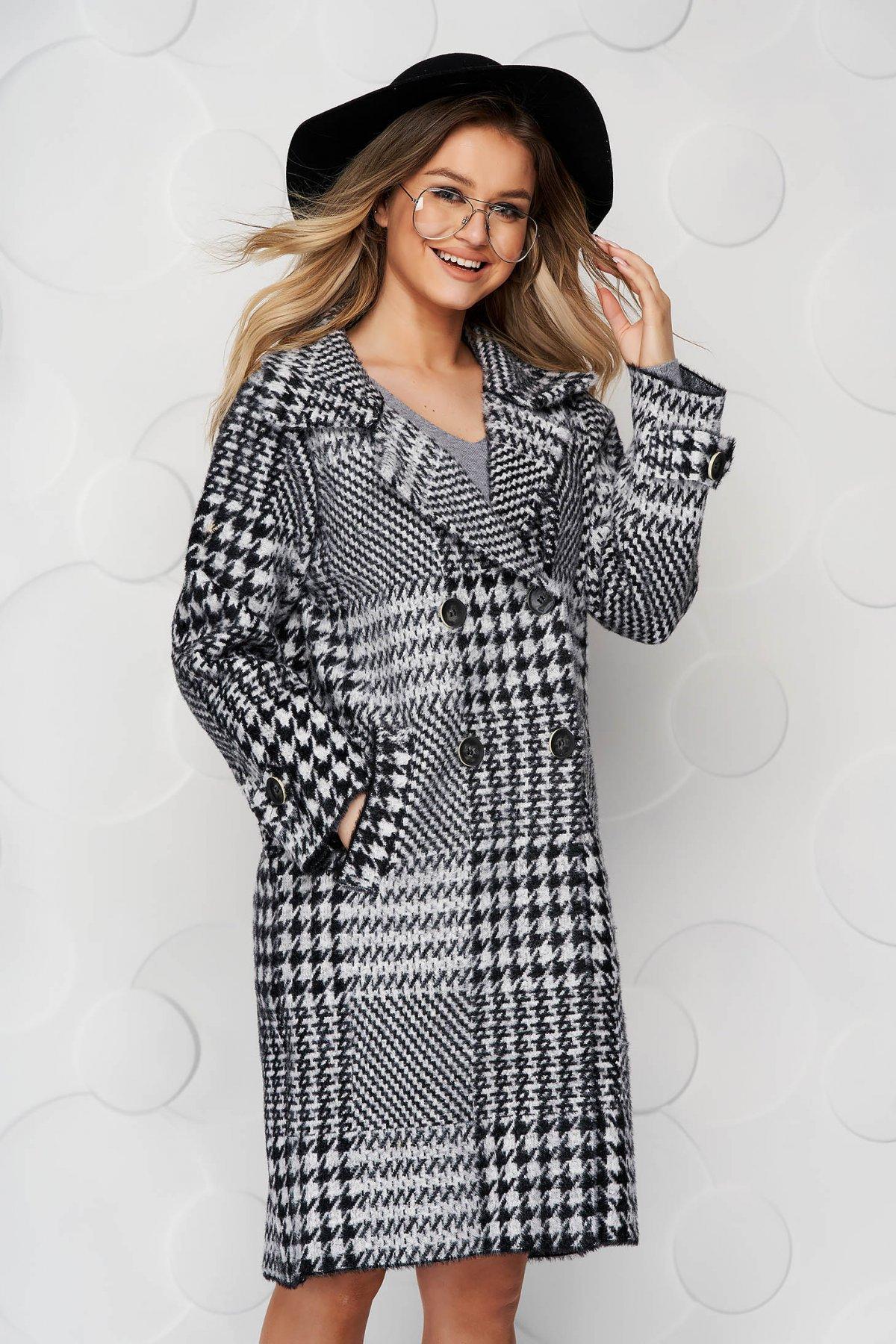 Palton SunShine negru elegant din lana cu croi larg in carouri