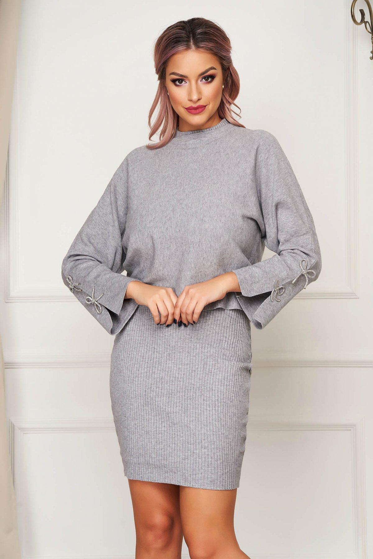 Compleu SunShine gri casual tricotat din 2 piese cu rochie