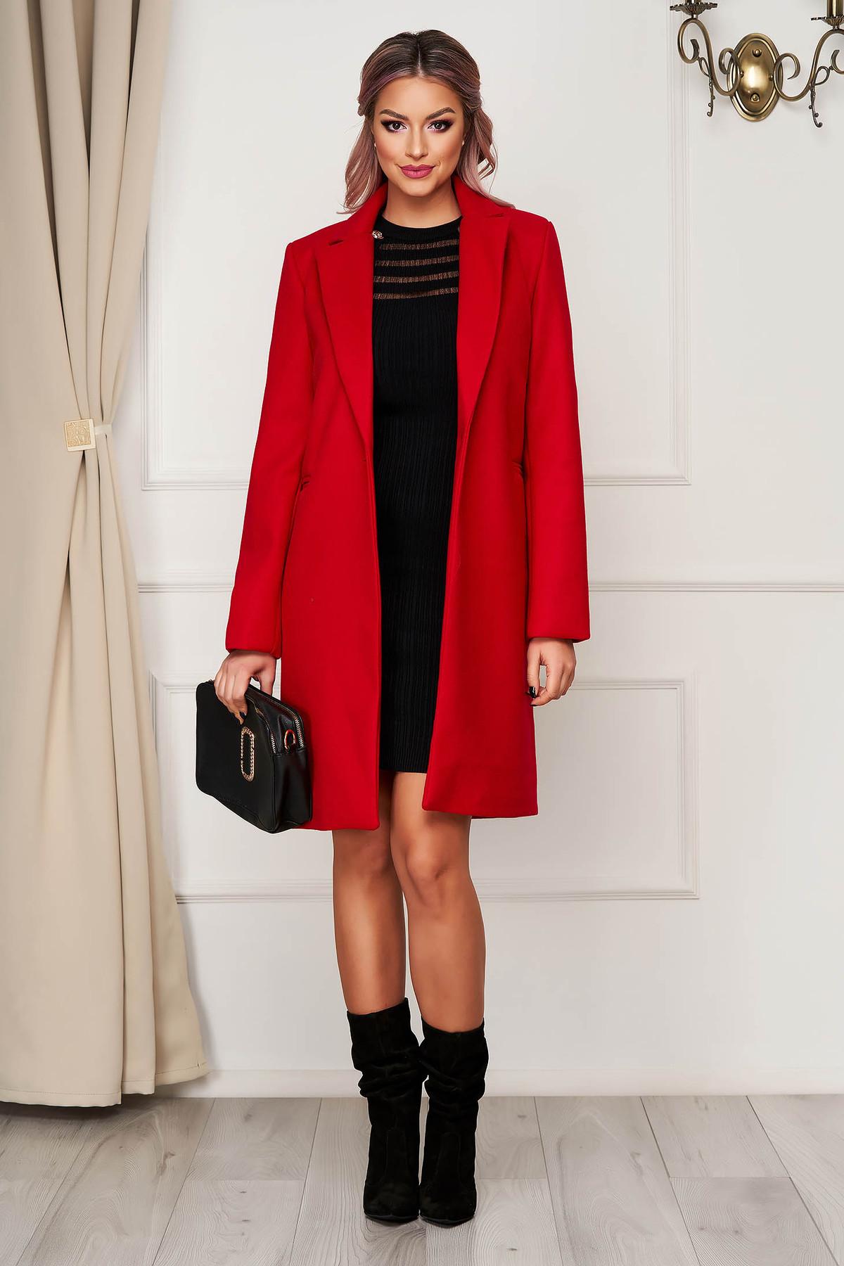 Palton SunShine rosu office din stofa cu un croi drept si buzunare