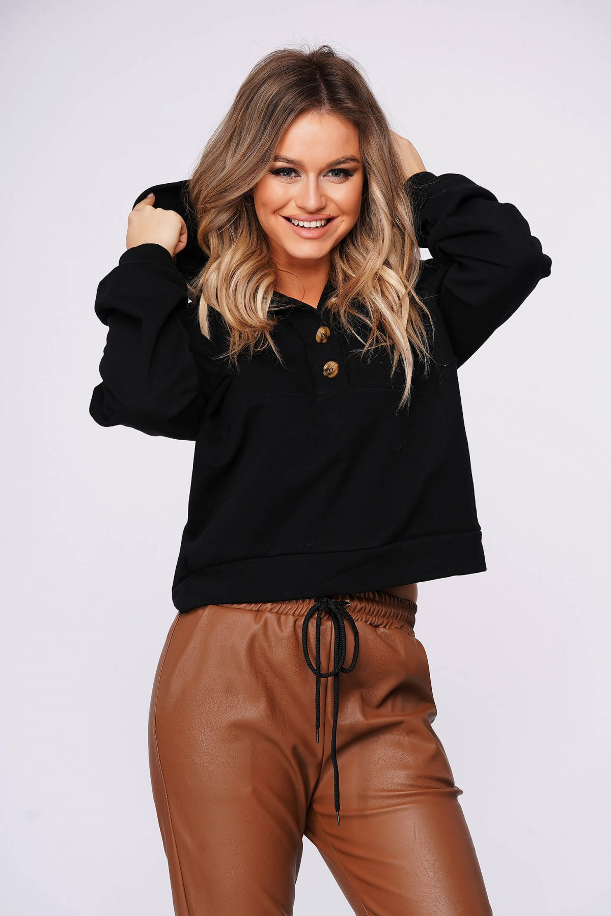 Bluza dama SunShine din bumbac usor elastic neagra casual scurta cu croi larg