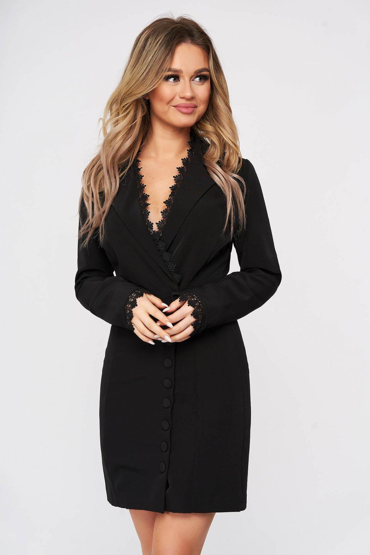 Rochie SunShine neagra eleganta scurta din stofa tip sacou cu insertii de broderie