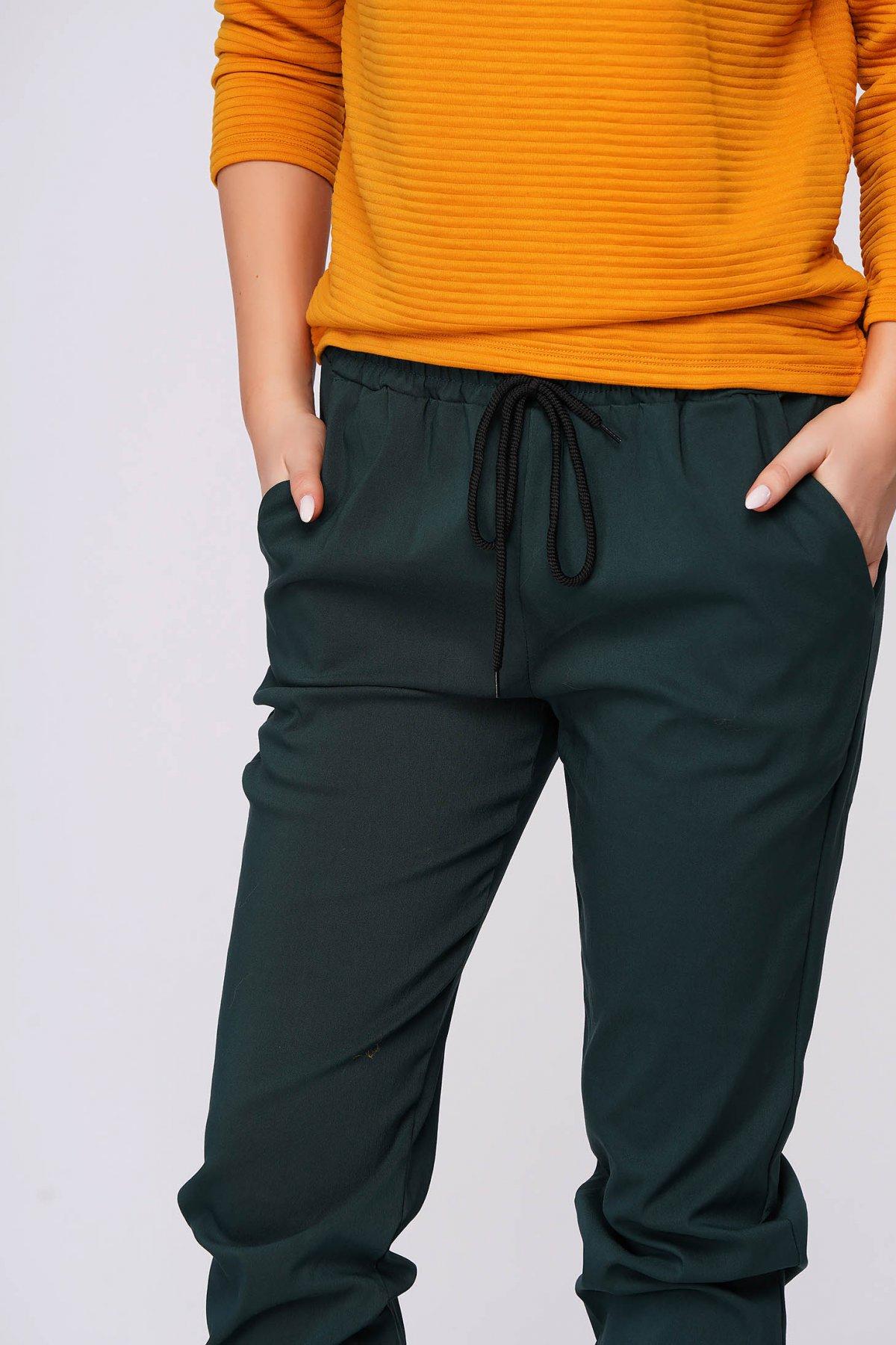 Pantaloni SunShine verzi casual material subtire cu buzunare cu talie medie