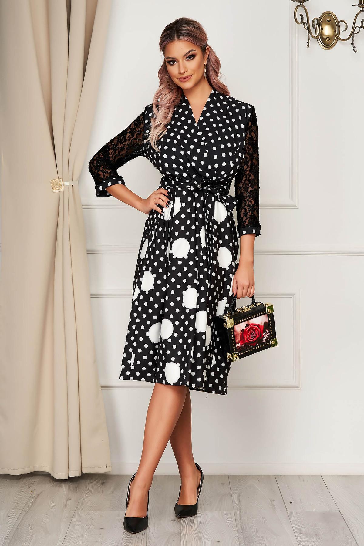 Rochie neagra eleganta midi in clos din stofa cu decolteu petrecut imagine