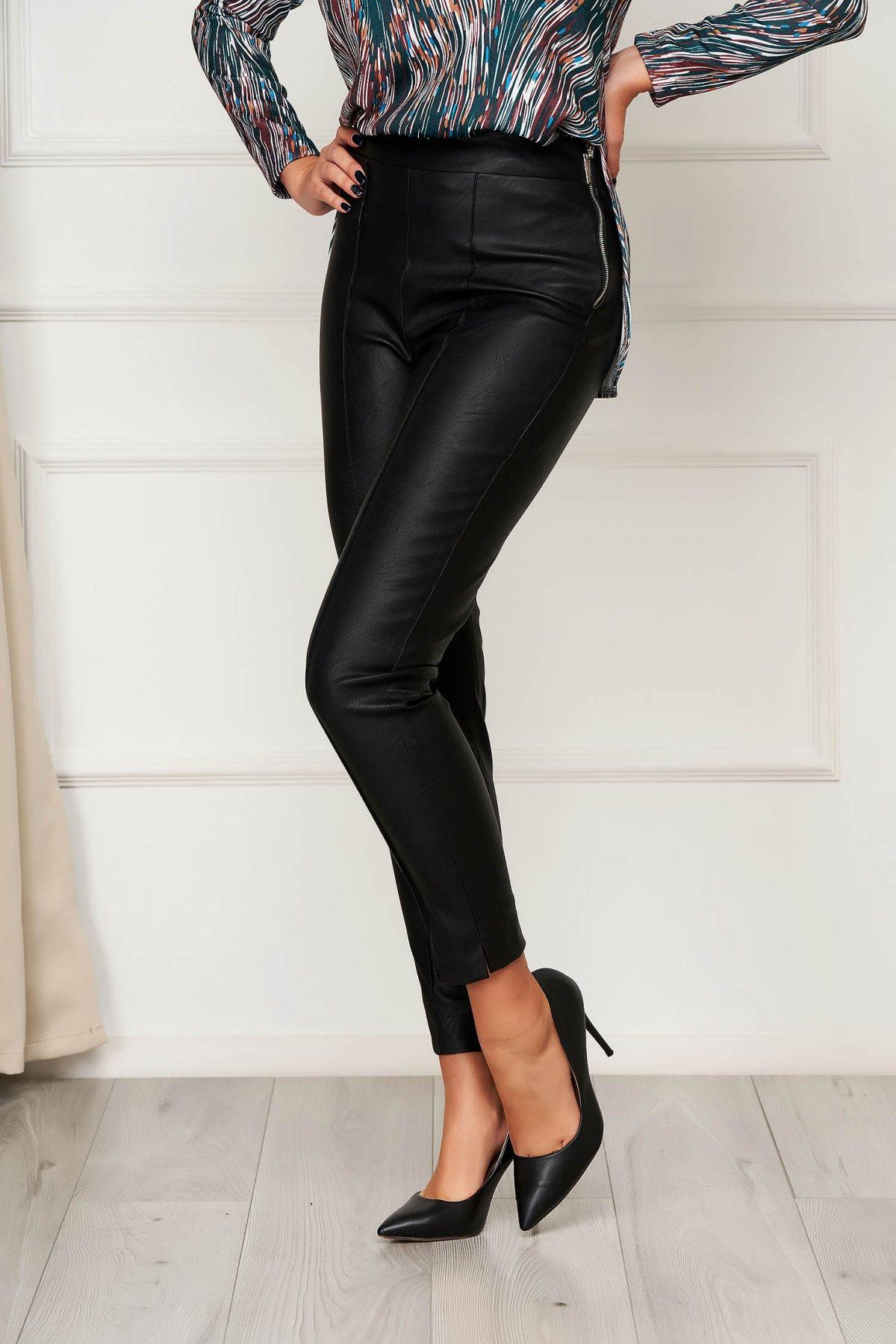 Pantaloni StarShinerS negri casual din piele ecologica cu un croi mulat cu talie inalta