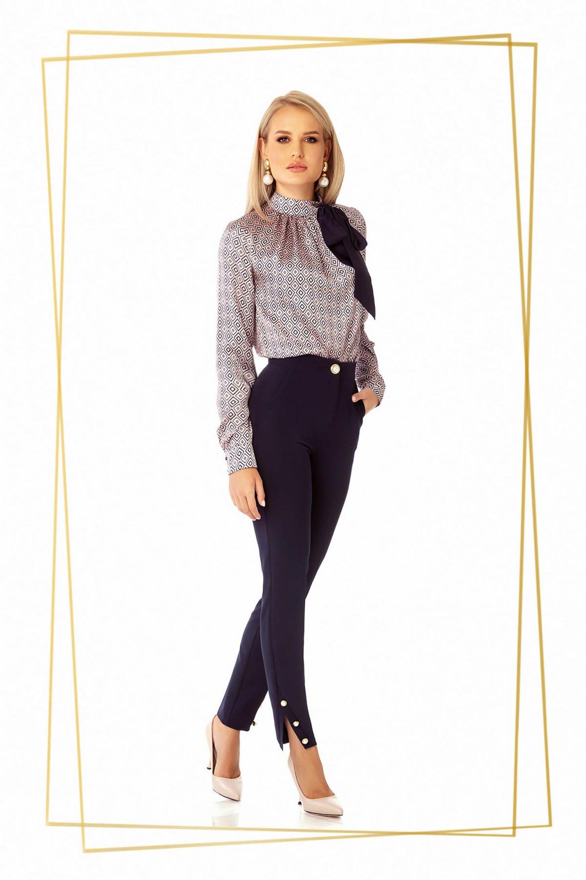 Pantaloni PrettyGirl albastru-inchis office conici cu talie medie cu un croi mulat din stofa