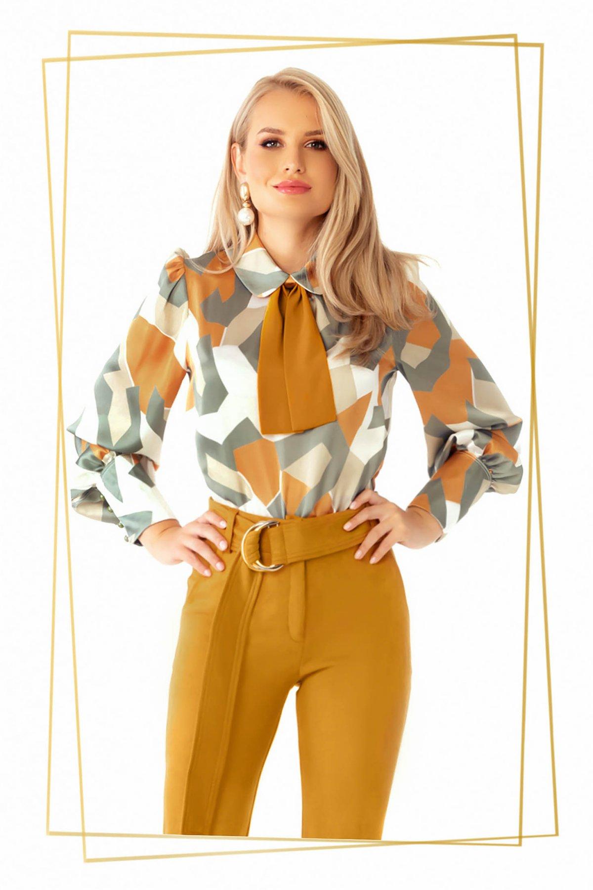 Bluza Dama Prettygirl Mustarie Eleganta Cu Croi Larg Cu Maneci Bufante Din Material Satinat Cu Imprimeu Geometric