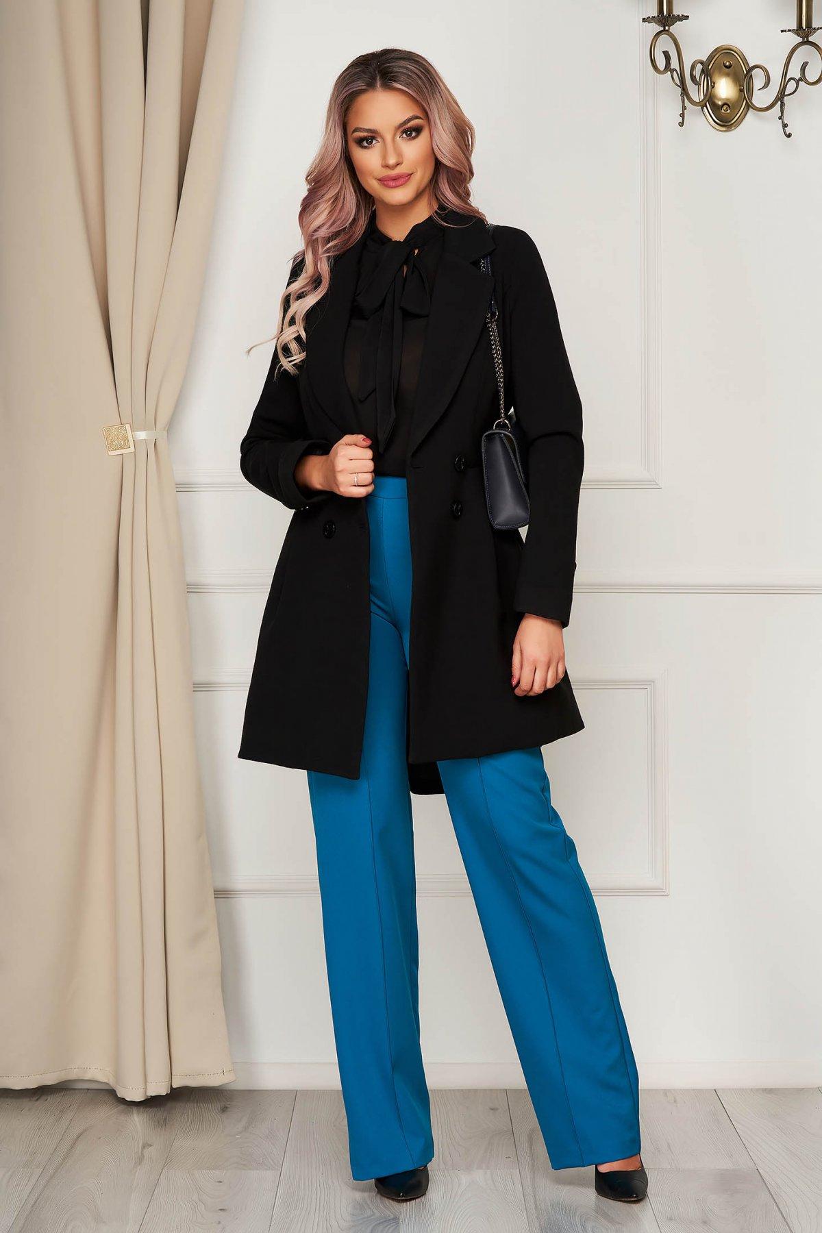 Palton Artista Negru Cambrat Captusit Pe Interior Din Stofa Usor Elastica