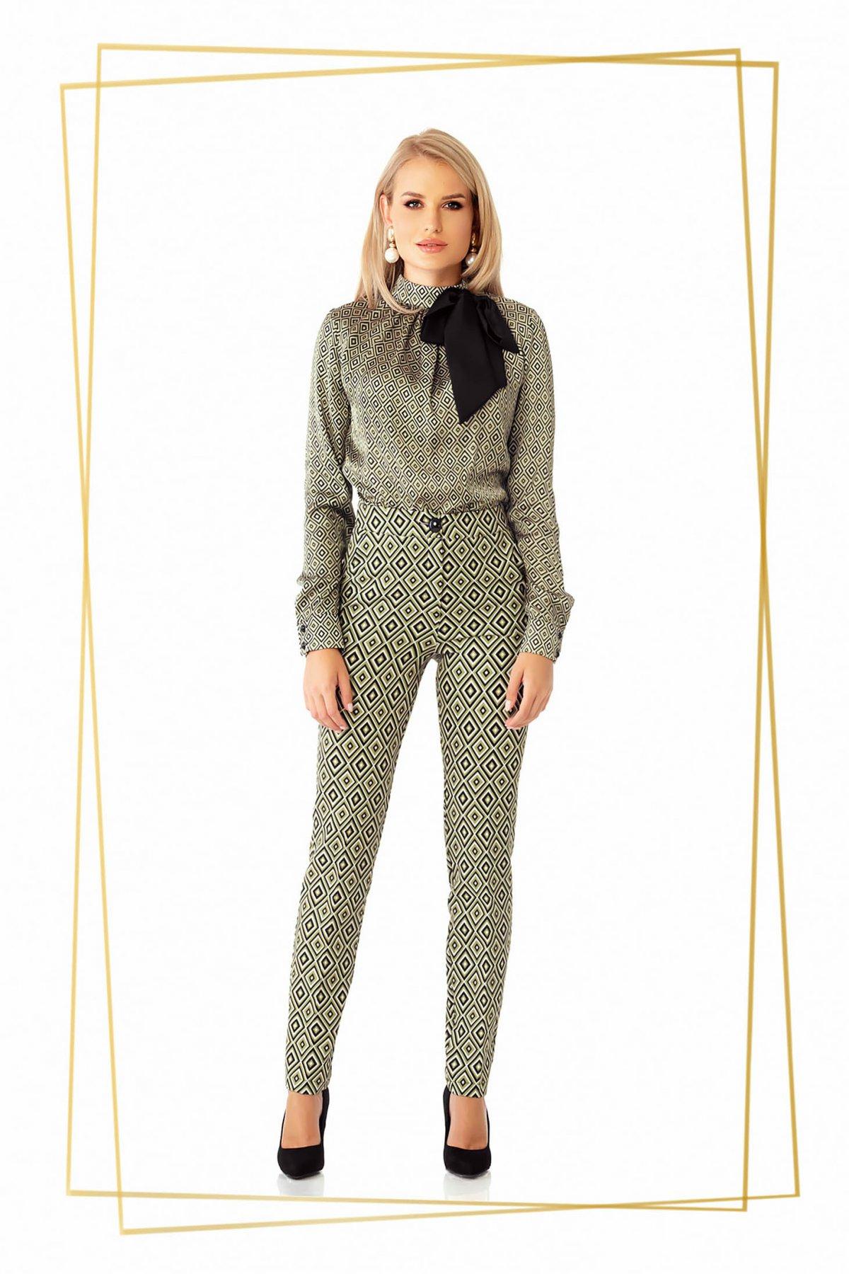 Pantaloni PrettyGirl khaki office conici din stofa usor elastica cu talie medie