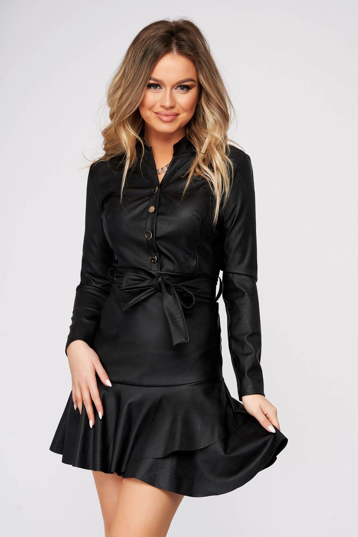 Rochie SunShine neagra de zi imitatie de piele in clos cu volanase la baza rochiei accesorizata cu cordon