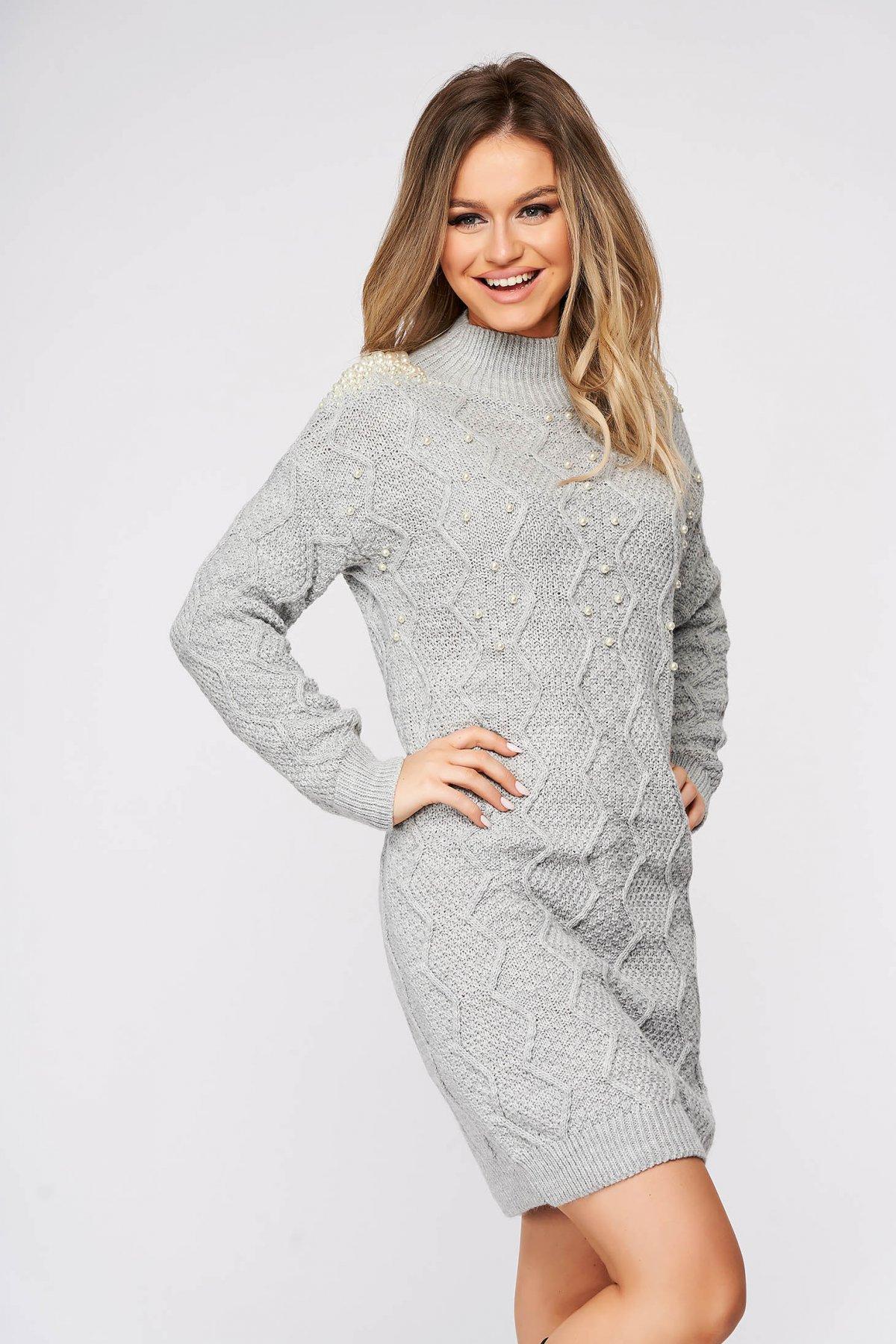 Pulover SunShine gri casual din material tricotat cu aplicatii cu perle imagine