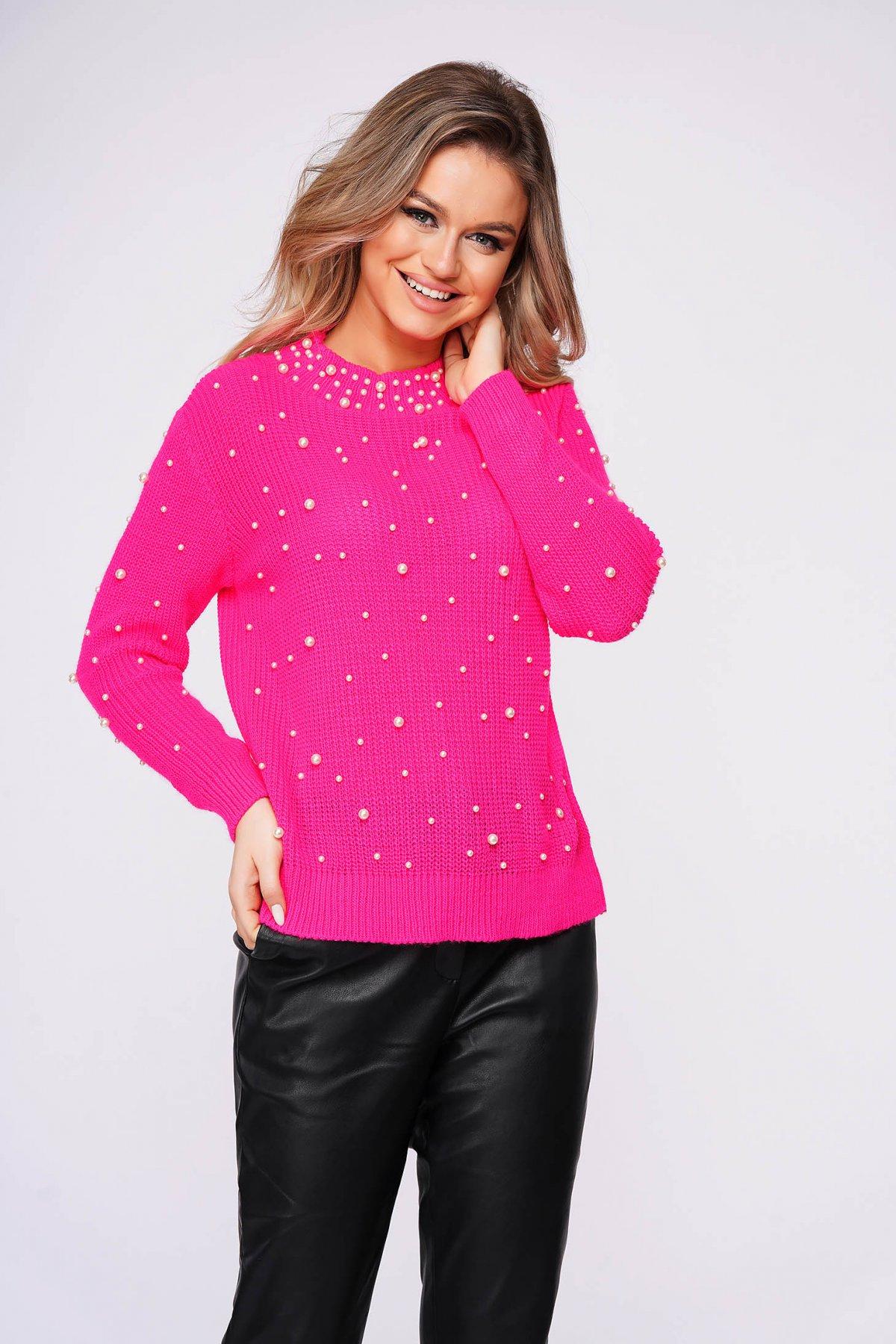 Pulover SunShine roz casual cu croi larg din material tricotat cu aplicatii cu perle imagine