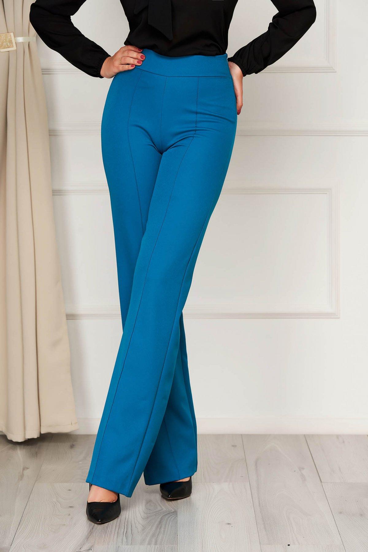 Pantaloni StarShinerS verde petrol eleganti lunga evazati din stofa din material elastic