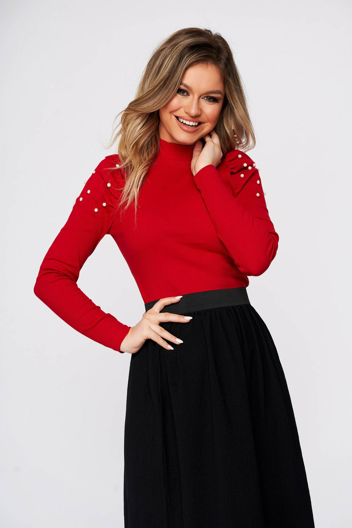 Bluza dama SunShine rosie scurta mulata din bumbac pe gat umeri cu volum din material reiat