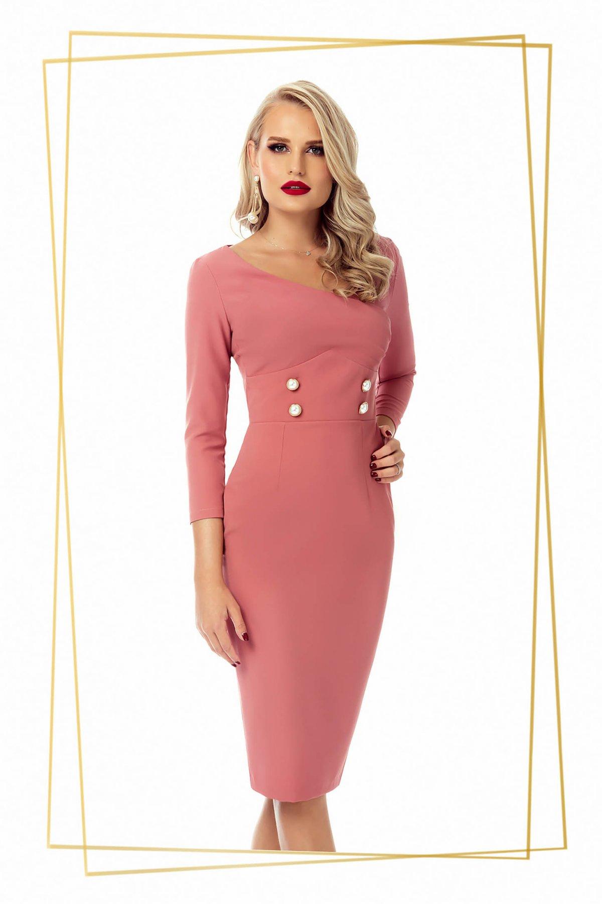 Rochie PrettyGirl roz prafuit office midi tip creion din stofa usor elastica accesorizata cu nasturi PrettyGirl