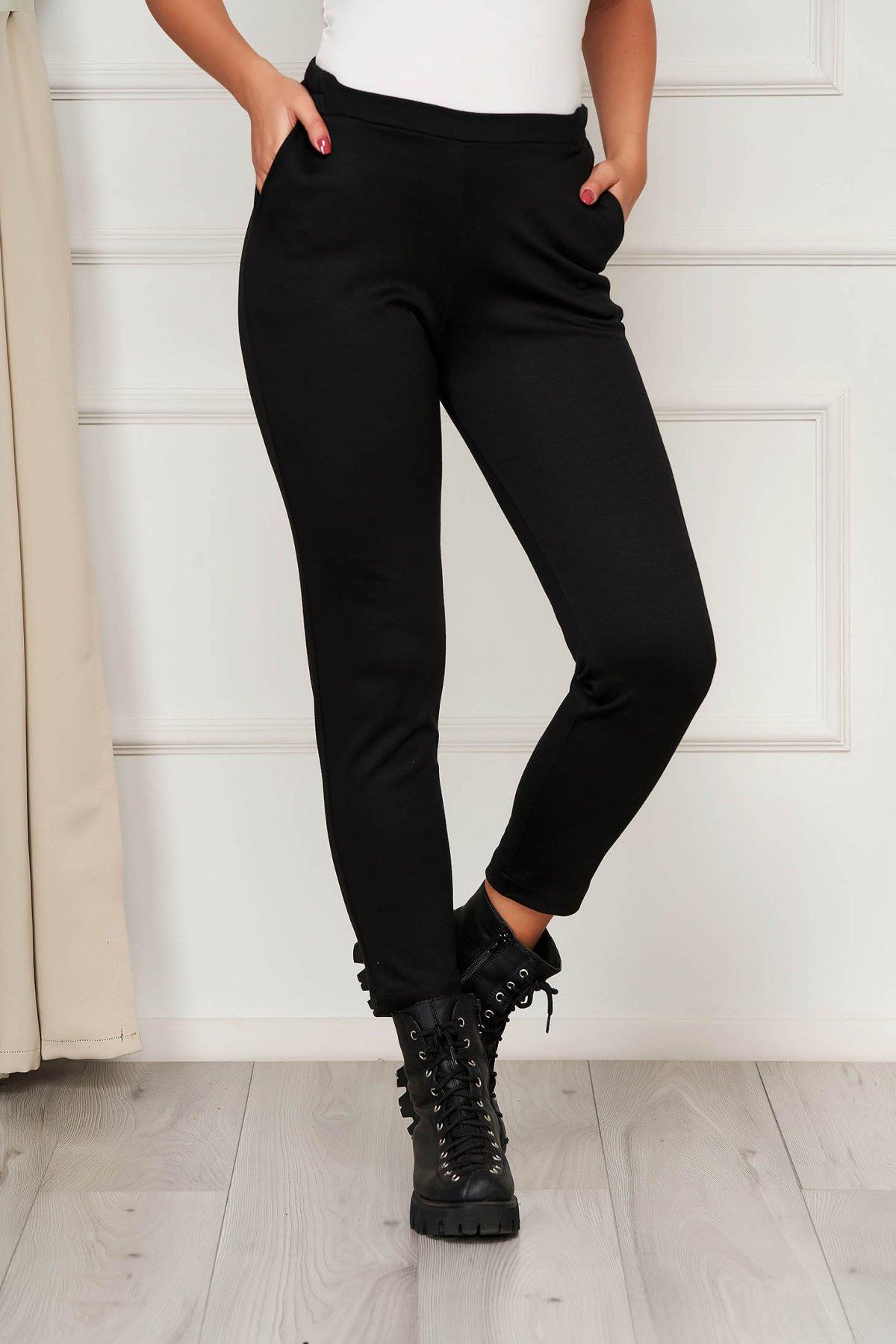 Pantaloni StarShinerS negri casual din jersey cu croi mulat cu elastic in talie si buzunare imagine