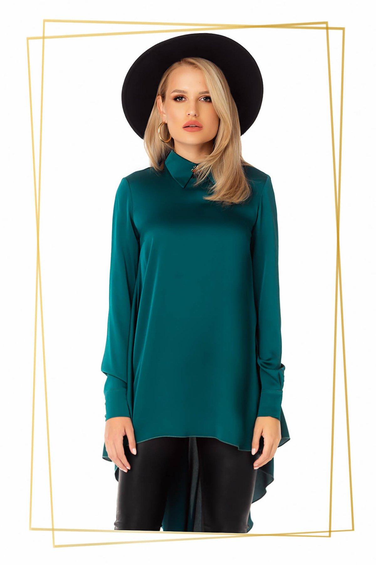Bluza dama PrettyGirl verde petrol eleganta asimetrica din material satinat cu croi larg imagine