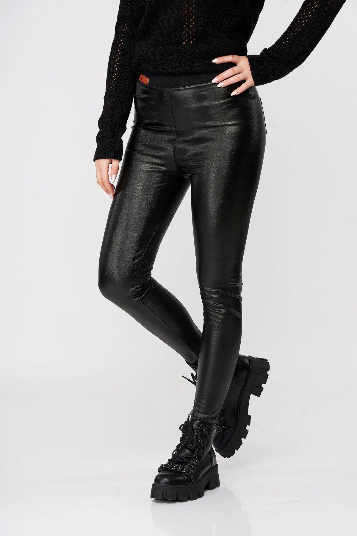 Pantaloni Sunshine Negri Casual Din Material Lucios Cu Elastic In Talie