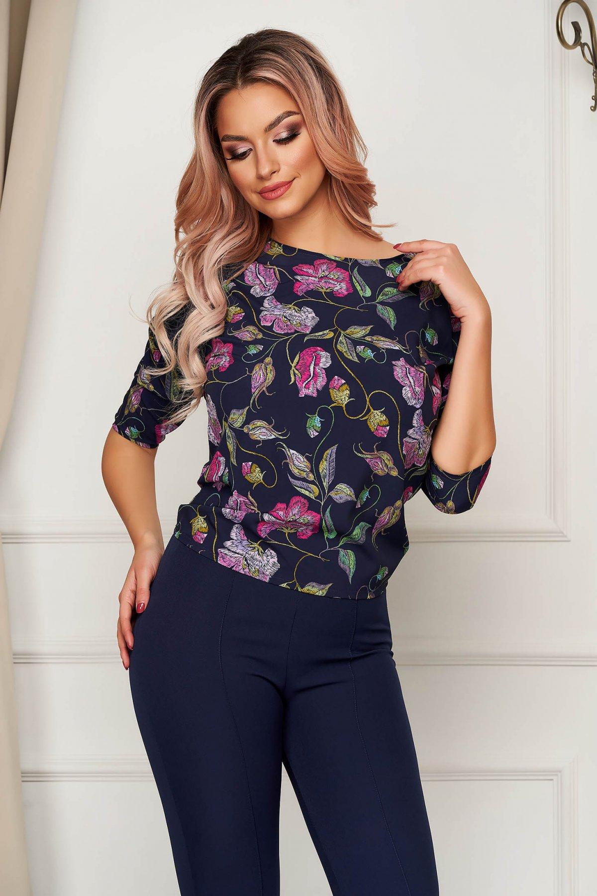 Bluza dama StarShinerS roz office scurta cu croi larg din material fin cu detalii brodate imagine