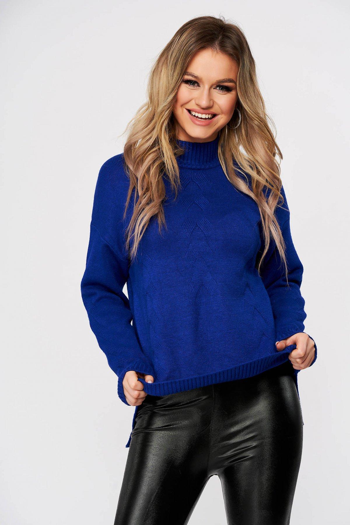 Pulover SunShine albastru casual scurt cu croi larg din material tricotat imagine
