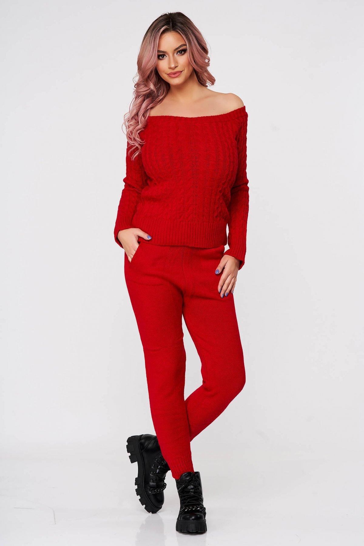 Trening dama SunShine rosu casual tricotat cu material impletit din doua piese imagine