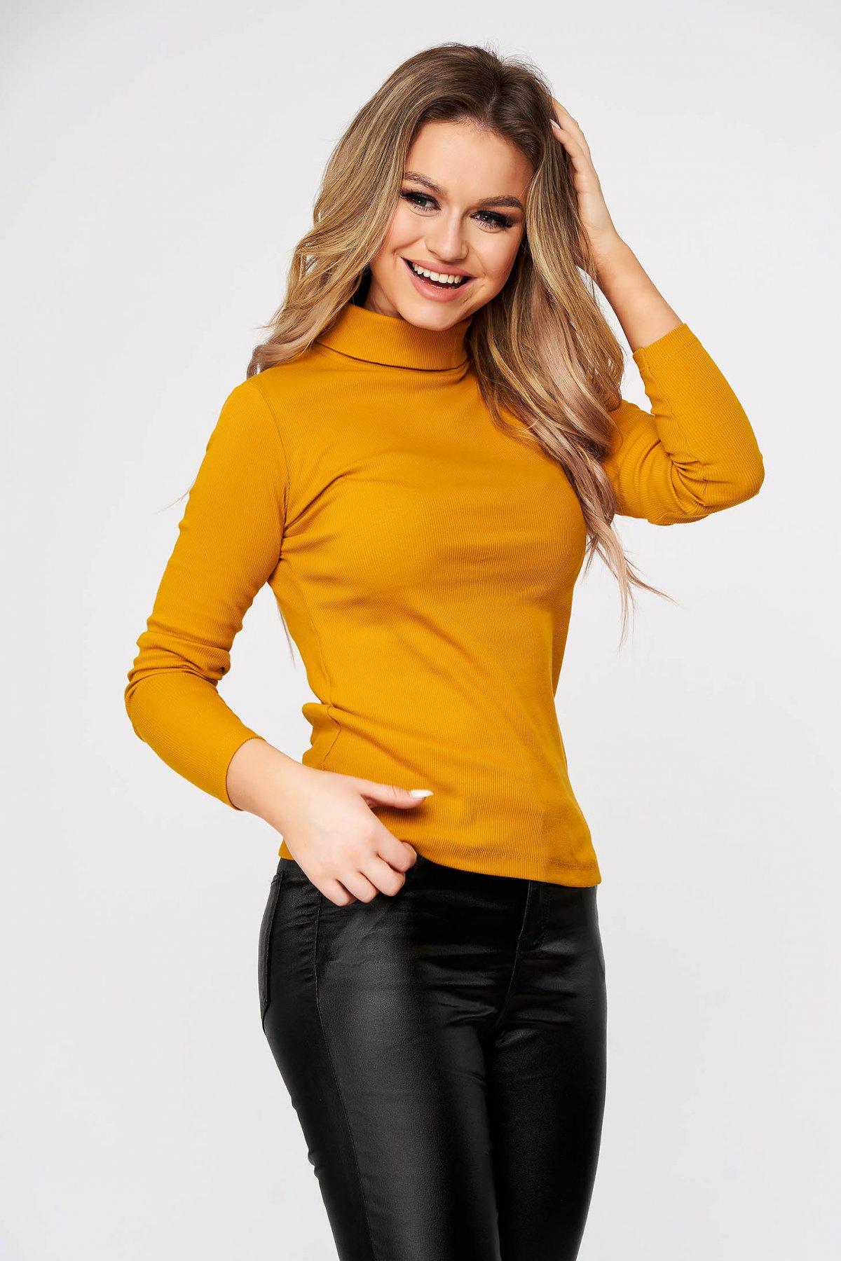 Bluza Dama Sunshine Mustariu Casual Din Bumbac Reiat Usor Elastic Mulata Pe Gat