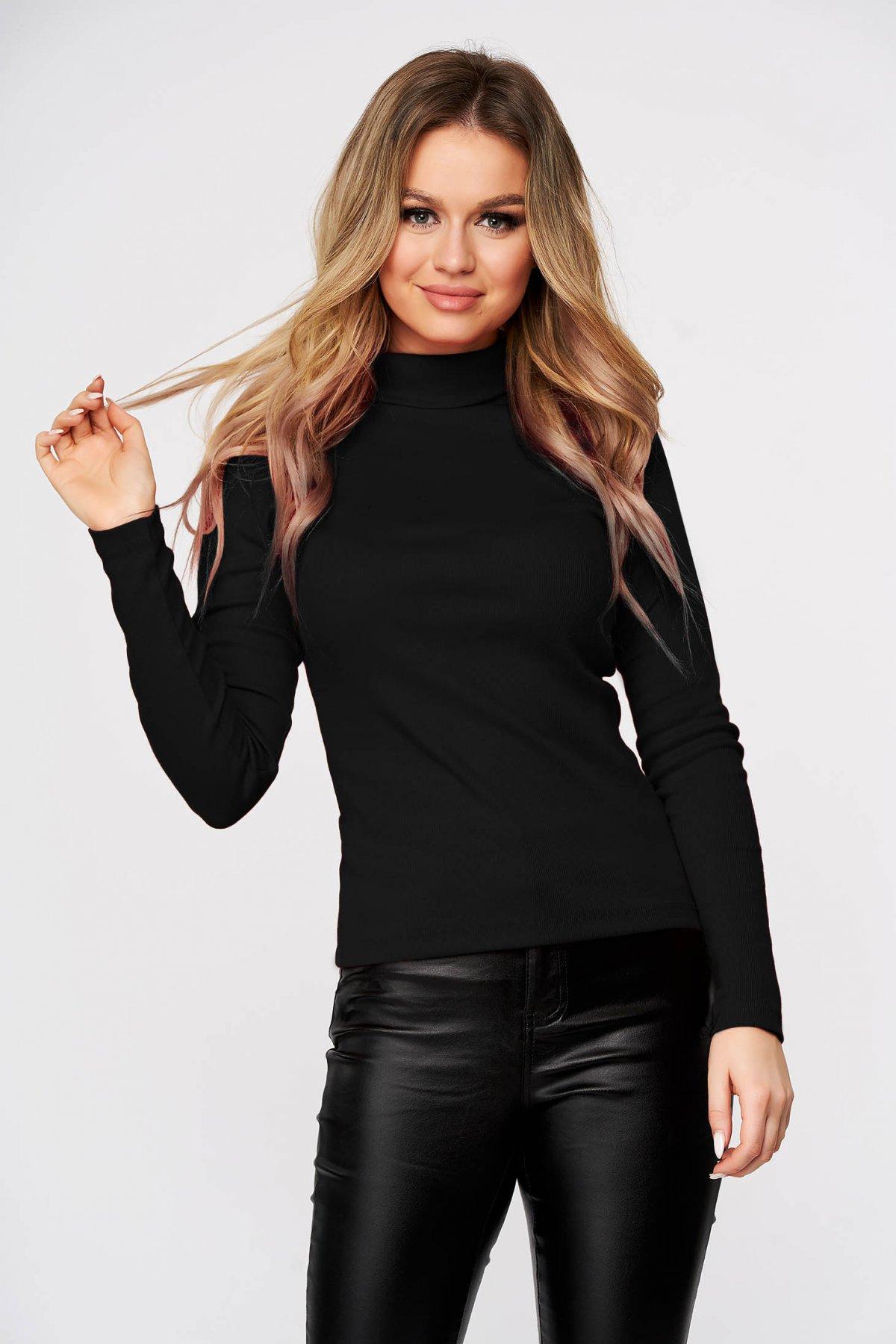 Bluza dama SunShine neagra casual din bumbac reiat usor elastic mulata pe gat