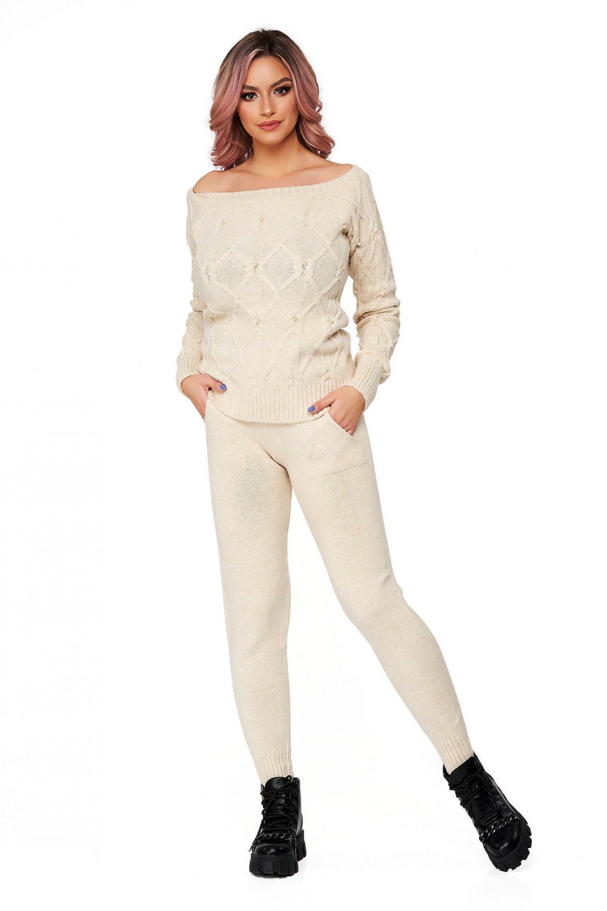 Trening dama SunShine crem din doua piese cu croi larg din material tricotat imagine