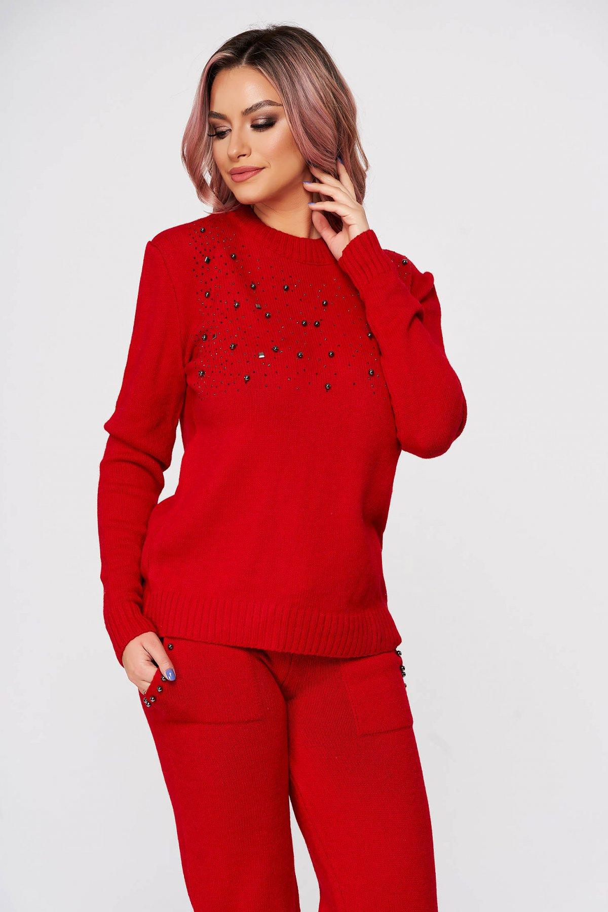 Trening Dama Sunshine Rosu Tricotate Din 2 Piese Cu Talie Medie Si Aplicatii Cu Perle