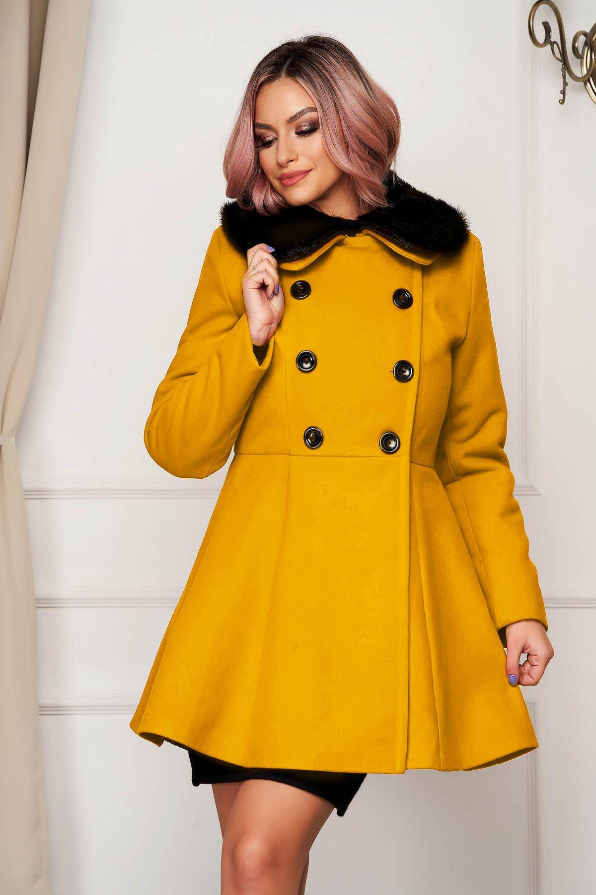 Palton din lana SunShine mustariu elegant scurt in clos cu guler din blana artificiala imagine