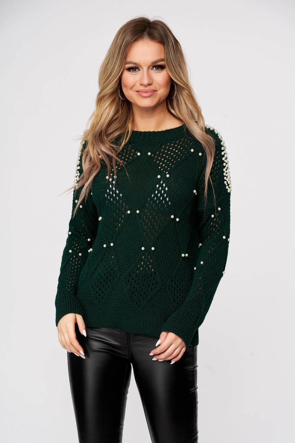 Pulover SunShine verde casual tricotat cu croi larg si aplicatii cu perle