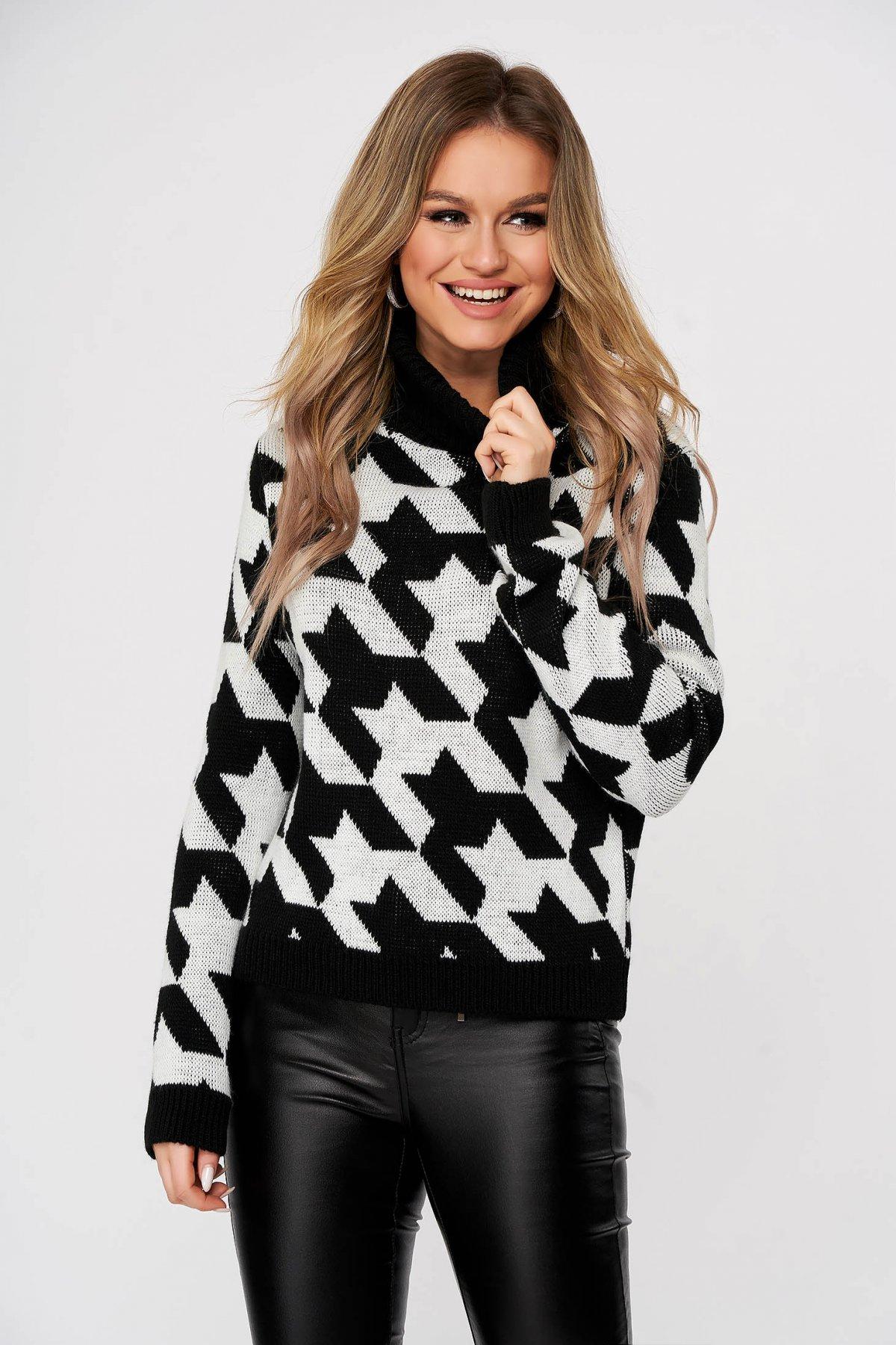 Pulover SunShine negru casual tricotat pe gat cu croi larg in carouri imagine