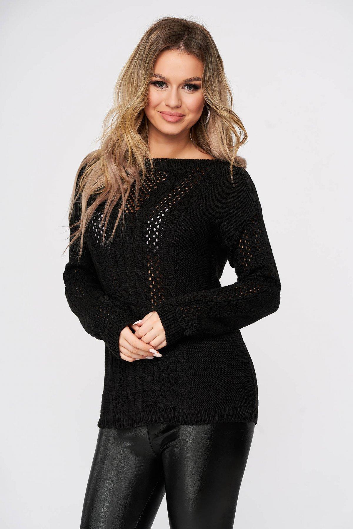 Pulover SunShine negru casual tricotat cu croi larg si guler barcuta
