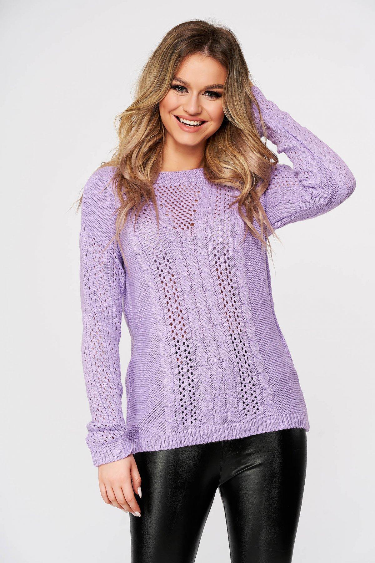 Pulover SunShine lila casual tricotat cu croi larg si guler barcuta