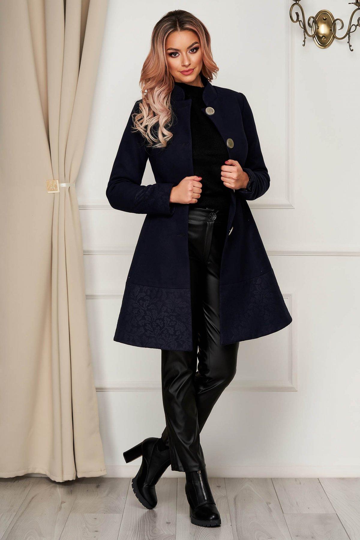 Palton Artista albastru-inchis elegant din stofa in clos cu buzunare captusit pe interior imagine