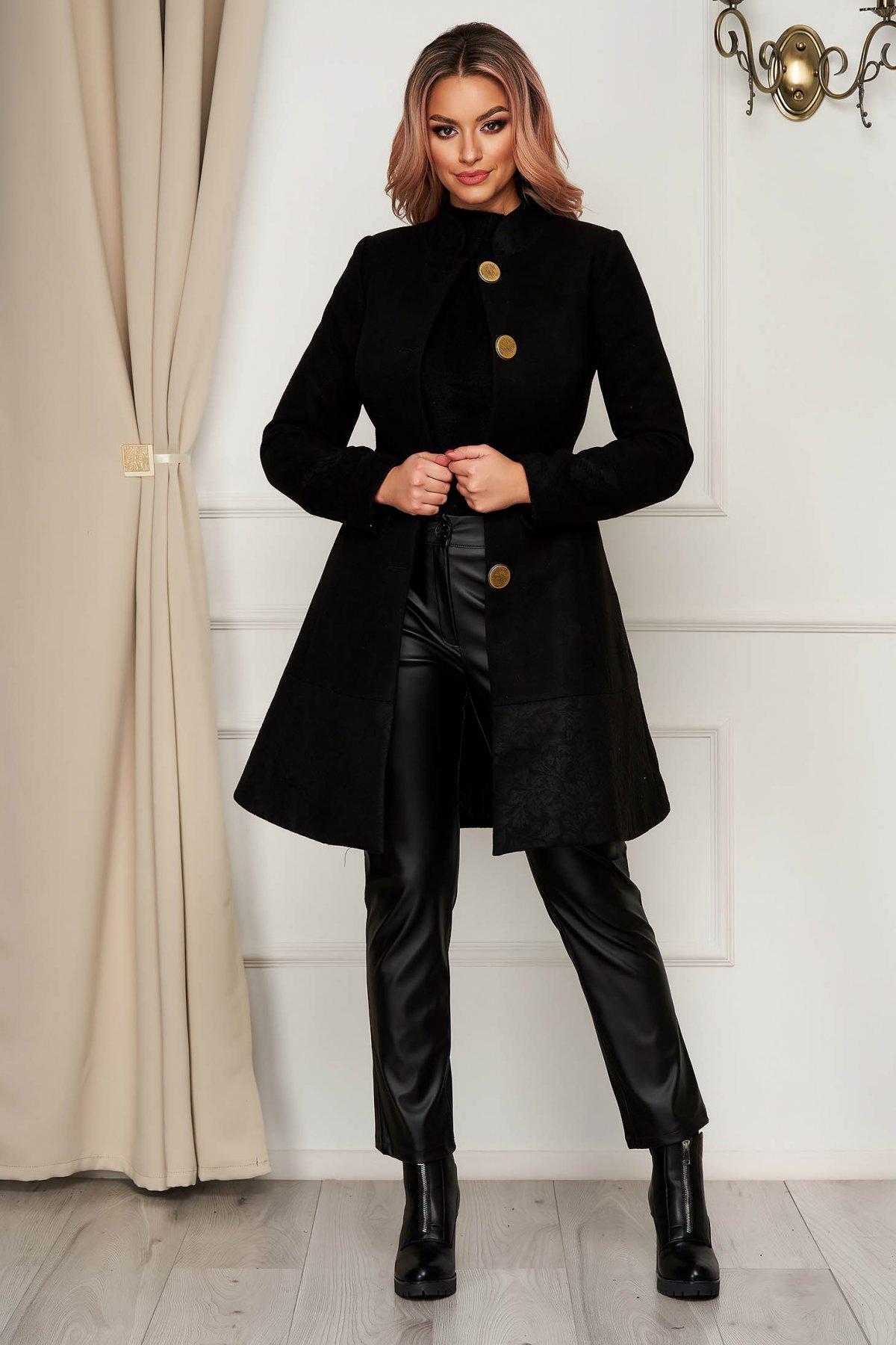 Palton Artista negru elegant din stofa in clos cu buzunare captusit pe interior imagine