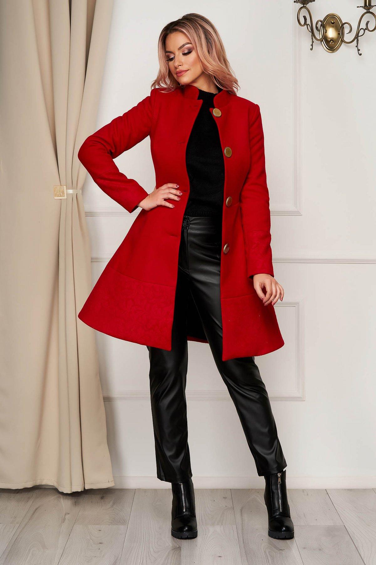 Palton Artista rosu elegant din stofa in clos cu buzunare captusit pe interior imagine
