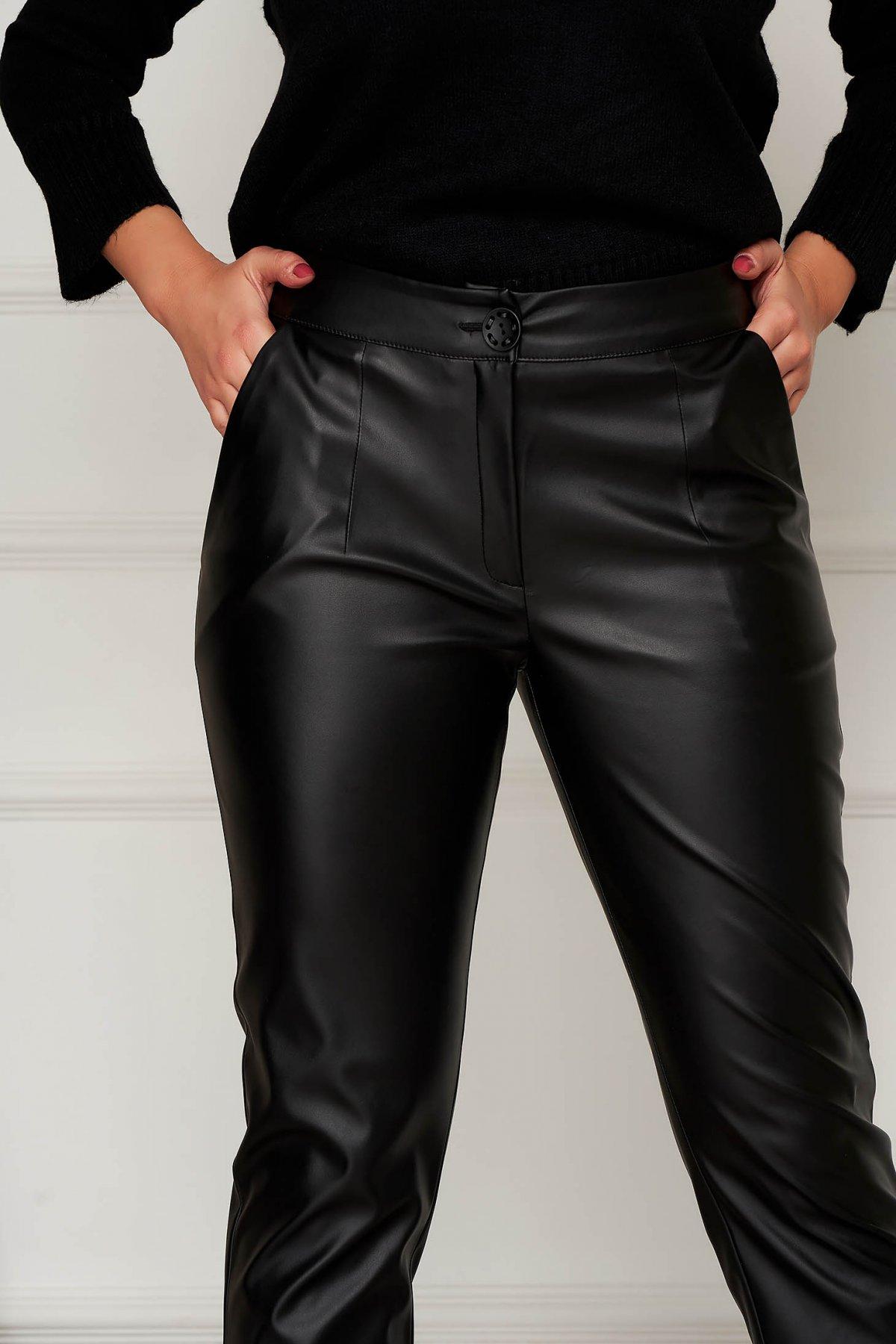 Pantaloni Artista negri casual conici din piele ecologica cu buzunare