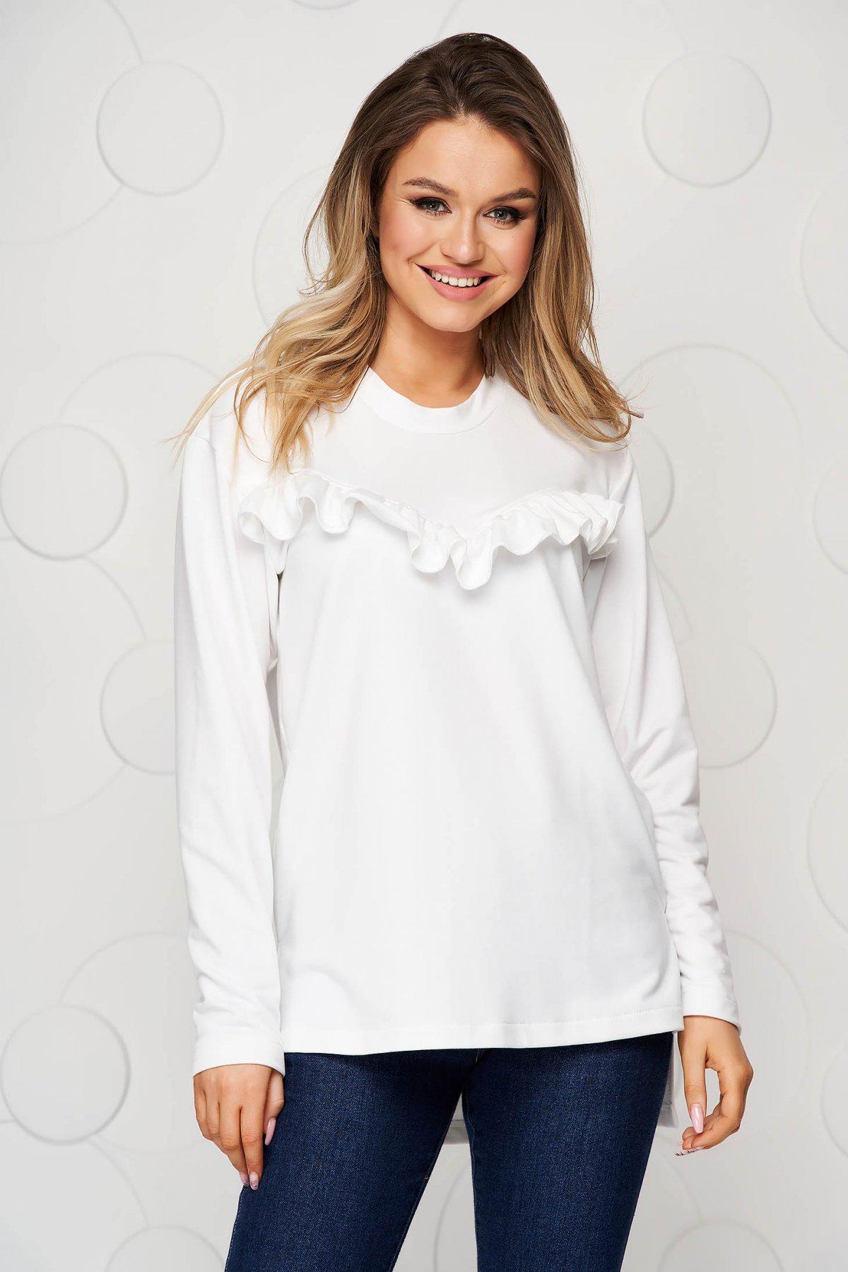 Bluza dama StarShinerS alba sport cu croi larg cu aplicatii de dantela