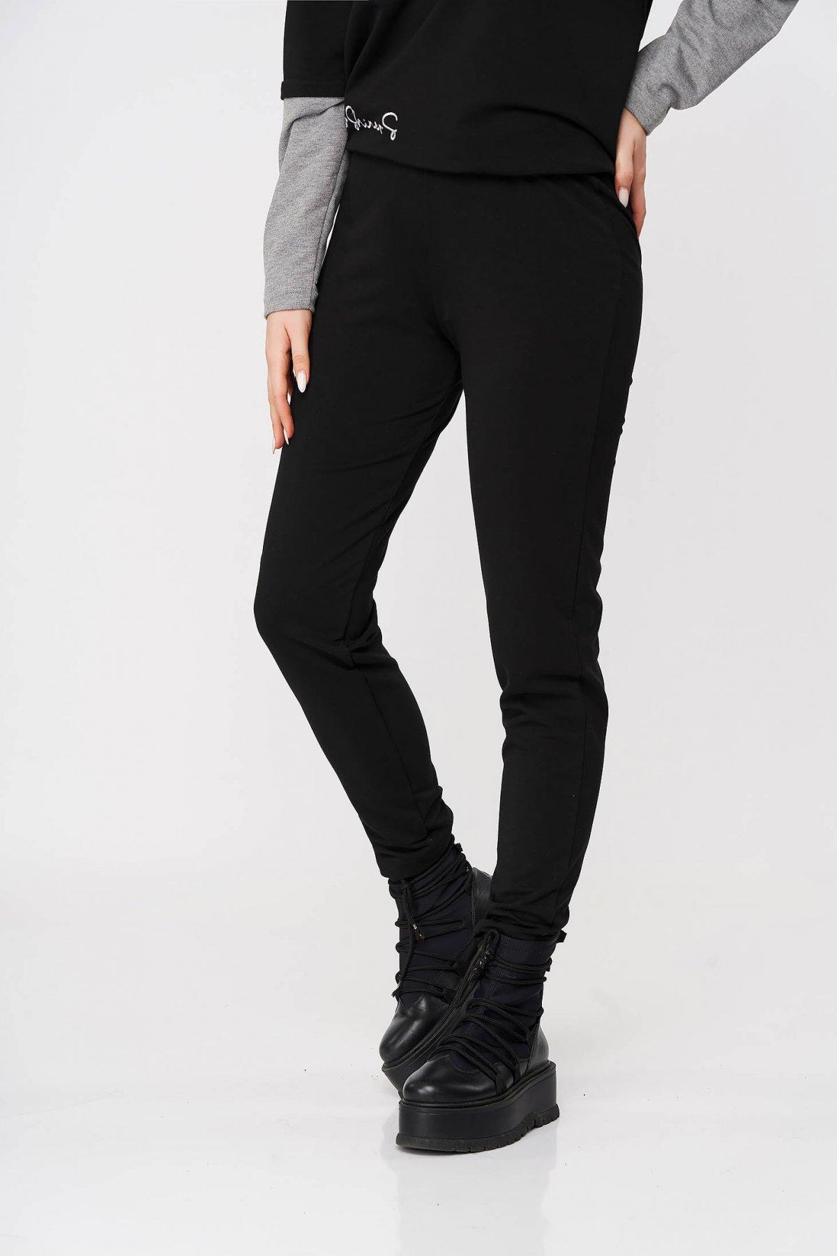 Pantaloni StarShinerS negri sport lungi conici cu elastic in talie
