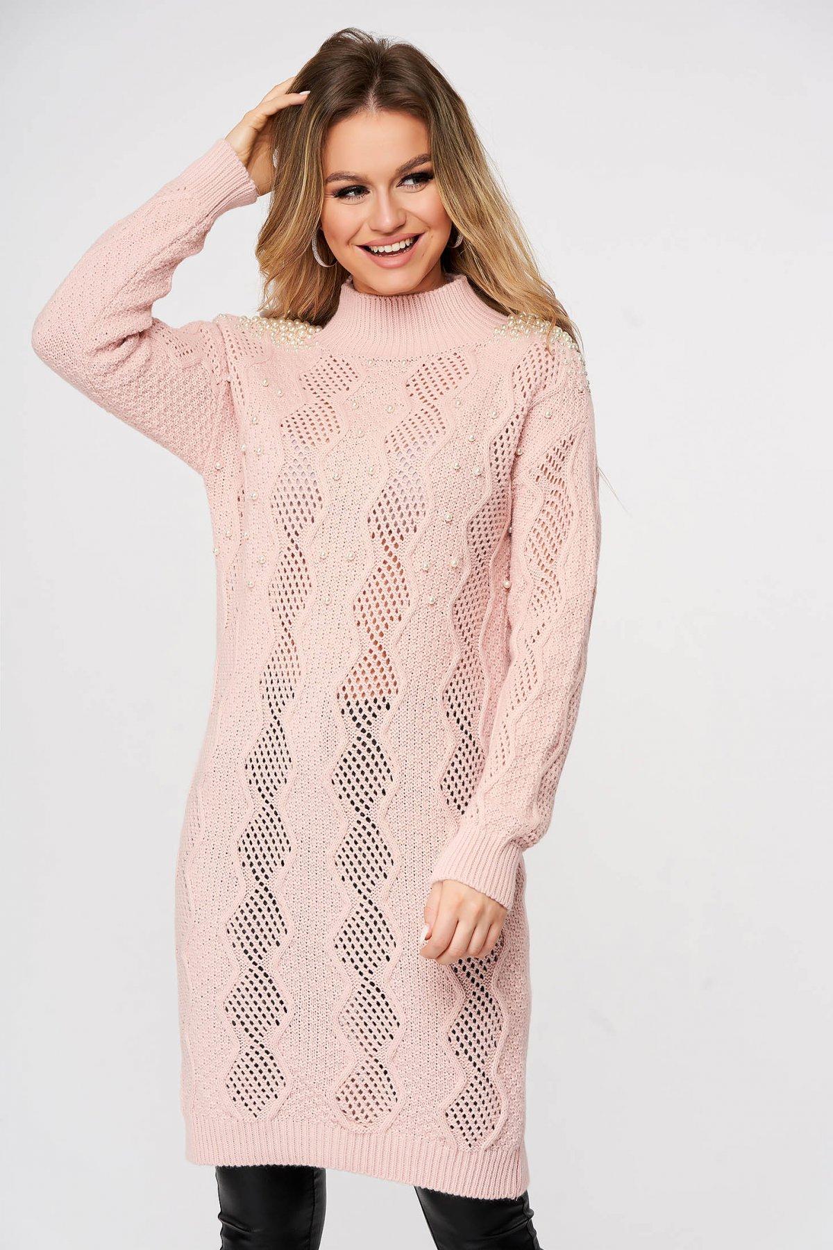 Pulover SunShine roz deschis lunga tricotat cu croi larg cu aplicatii cu perle