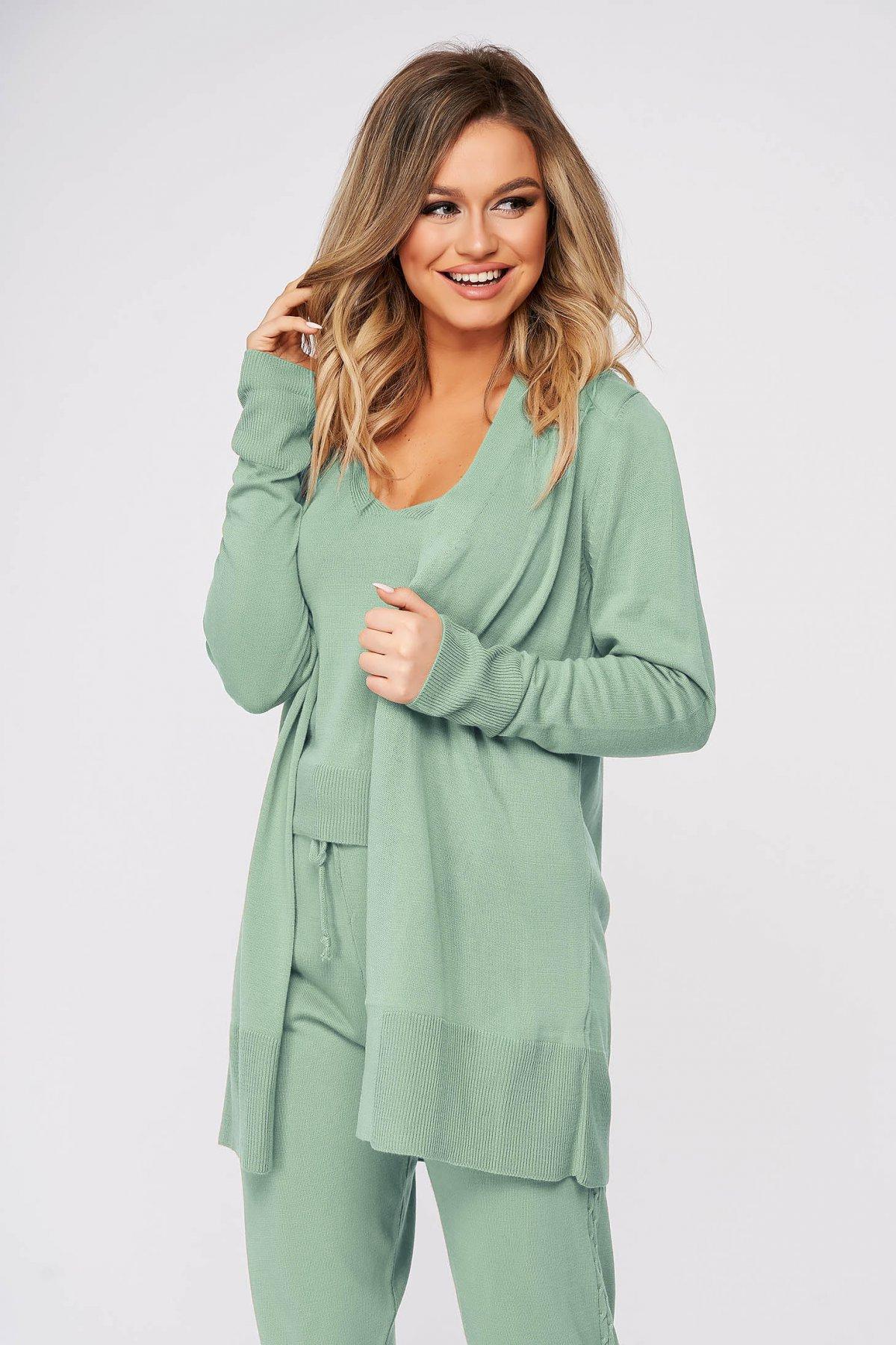 Trening dama SunShine verde deschis casual din material tricotat imagine