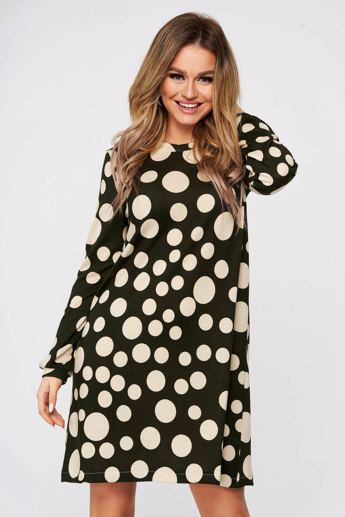 Rochie StarShinerS cu buline scurta de zi din material tricotat subtire cu croi larg imagine