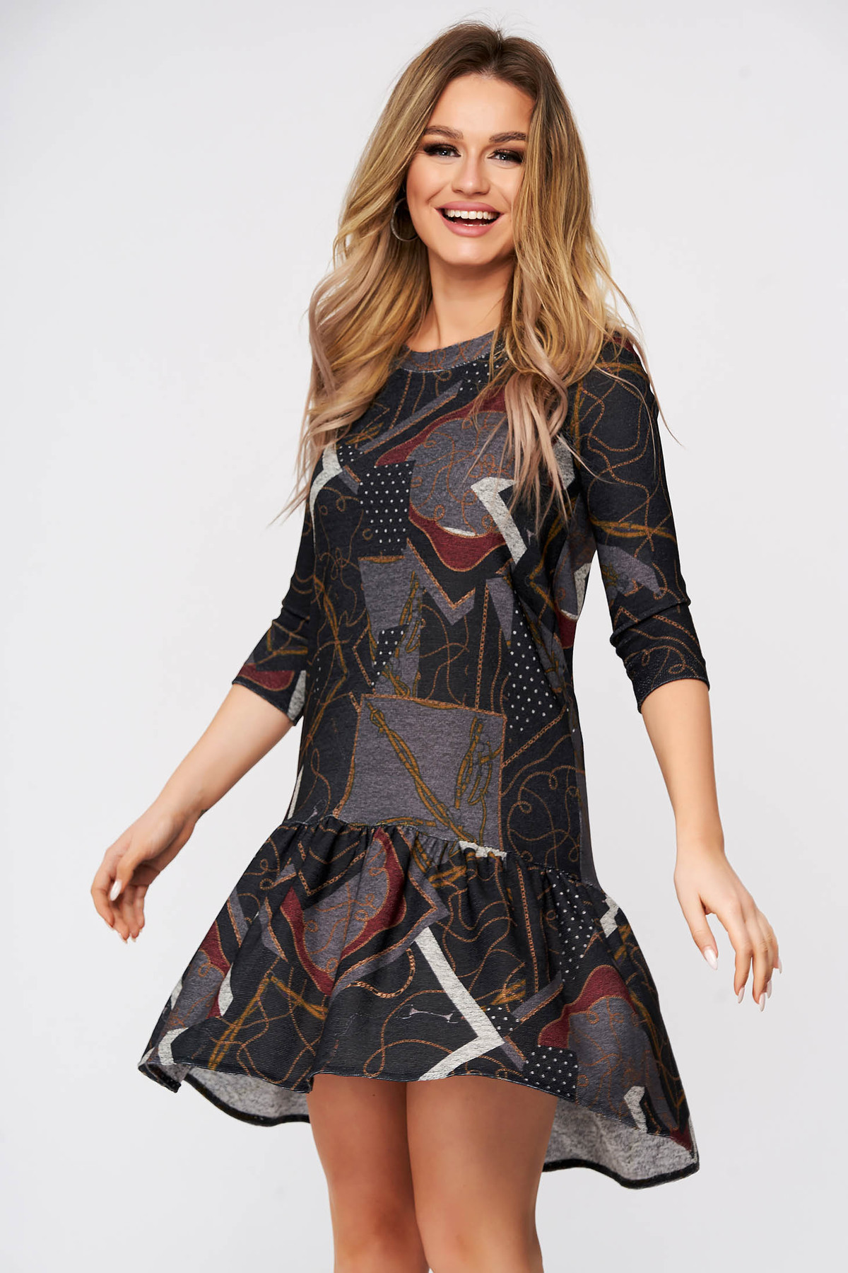 Rochie StarShinerS gri-inchis tricotata de zi cu croi larg usor asimetrica fara captuseala